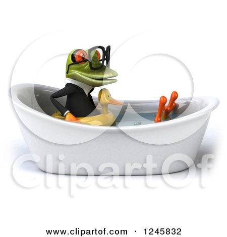 Clipart of a 3d Bespectacled Business Springer Frog Sitting with a Duck Inner Tube in a Tub 2 - Royalty Free Illustration by Julos