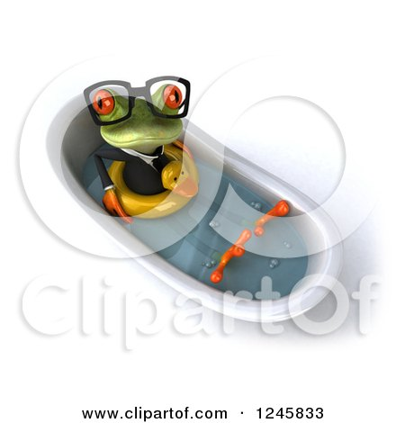 Clipart of a 3d Bespectacled Business Springer Frog Sitting with a Duck Inner Tube in a Tub 3 - Royalty Free Illustration by Julos