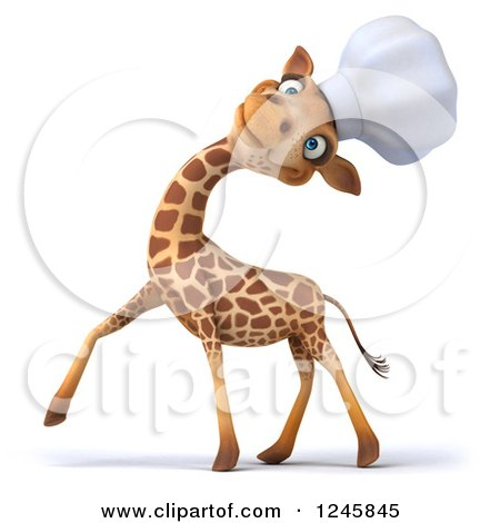 Clipart of a 3d Chef Giraffe Laughing in a Toque Hat - Royalty Free Illustration by Julos