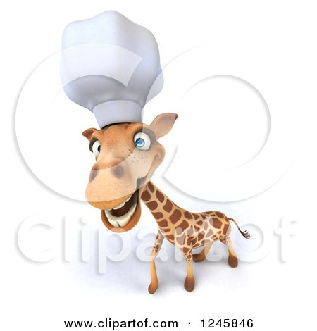 Clipart of a 3d Happy Chef Giraffe in a Toque Hat - Royalty Free Illustration by Julos