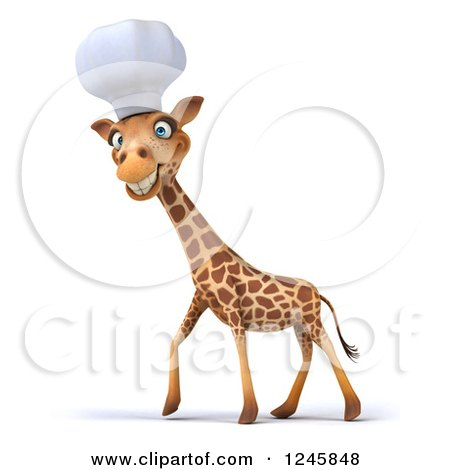 Clipart of a 3d Chef Giraffe Walking in a Toque Hat - Royalty Free Illustration by Julos