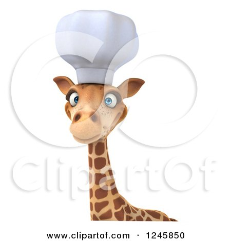 Clipart of a 3d Chef Giraffe in a Toque Hat over a Sign - Royalty Free Illustration by Julos