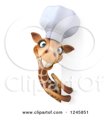 Clipart of a 3d Chef Giraffe in a Toque Hat Around a Sign - Royalty Free Illustration by Julos