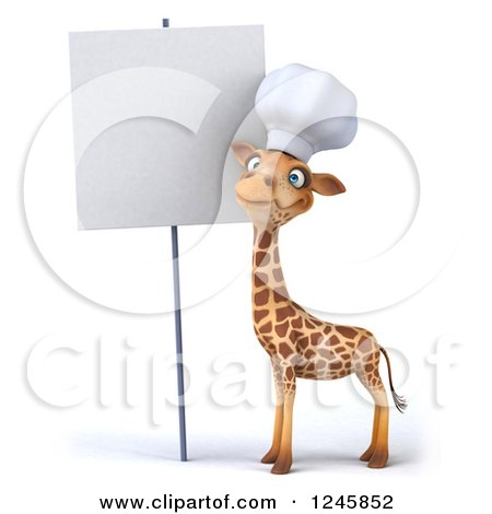 Clipart of a 3d Chef Giraffe in a Toque Hat by a Blank Sign - Royalty Free Illustration by Julos