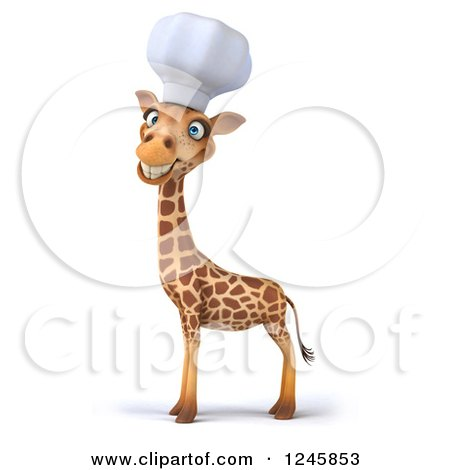 Clipart of a 3d Chef Giraffe Smiling in a Toque Hat - Royalty Free Illustration by Julos