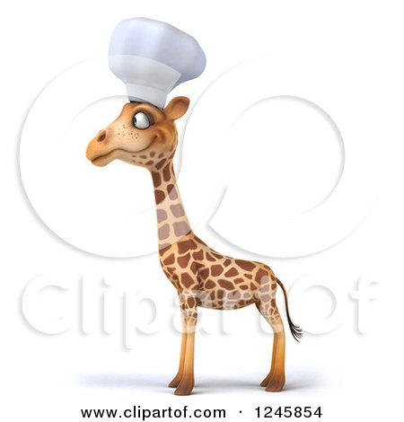 Clipart of a 3d Chef Giraffe Facing Left - Royalty Free Illustration by Julos