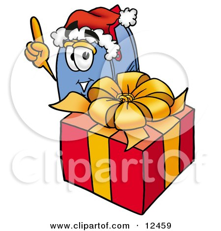 Blue Postal Mailbox Cartoon Character Standing by a Christmas Present Posters, Art Prints