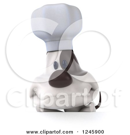 Clipart of a 3d Jack Russell Terrier Dog Chef over a Sign - Royalty Free Illustration by Julos