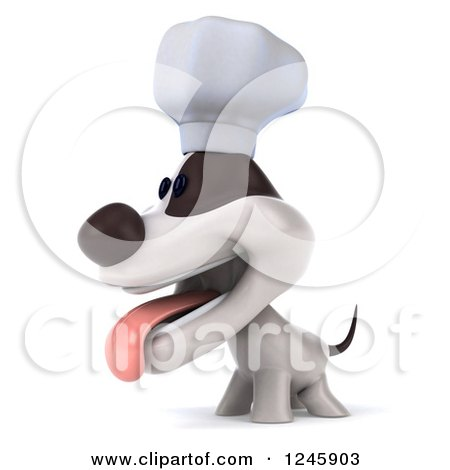 Clipart of a 3d Jack Russell Terrier Dog Chef Facing Left - Royalty Free Illustration by Julos