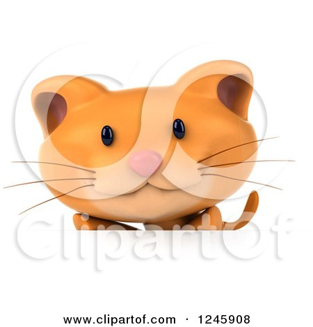 Clipart of a 3d Ginger Cat over a Sign - Royalty Free Illustration by Julos