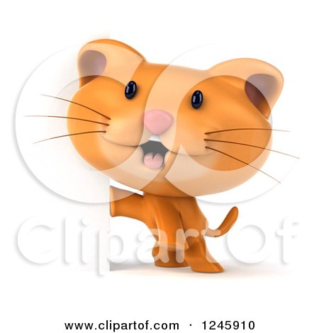 Clipart of a 3d Ginger Cat Around a Sign - Royalty Free Illustration by Julos