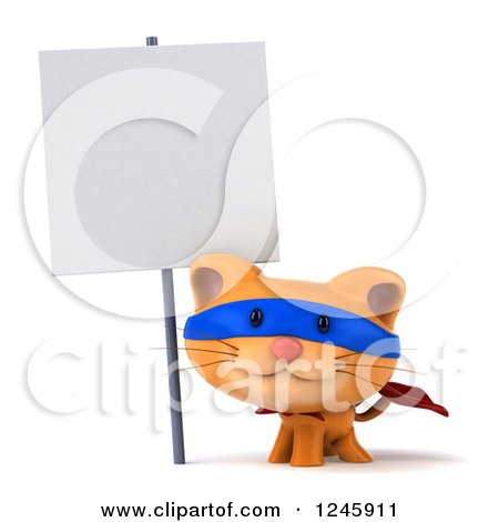 Clipart of a 3d Super Hero Ginger Cat Facing Left - Royalty Free Illustration by Julos