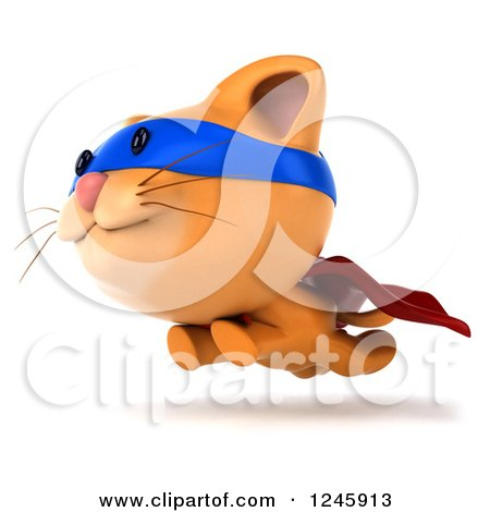 Clipart of a 3d Super Hero Ginger Cat Running - Royalty Free Illustration by Julos