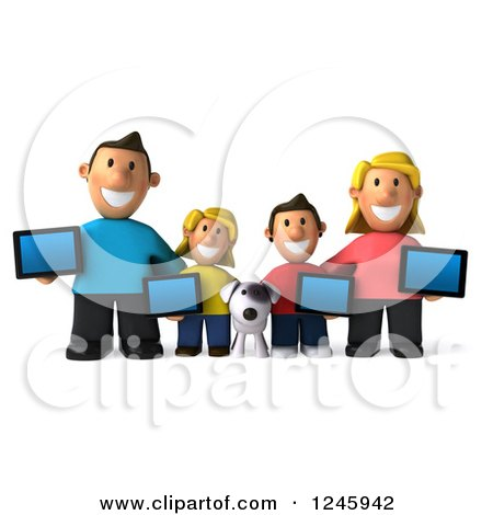 Clipart of a 3d Caucasian Family and Dog with Tablet Computers - Royalty Free Illustration by Julos