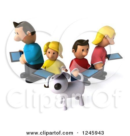 Clipart of a 3d Dog and Caucasian Family with Tablet Computers - Royalty Free Illustration by Julos