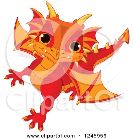 Clipart of a Cute Red and Orange Baby Dragon Looking up - Royalty Free Vector Illustration by Pushkin