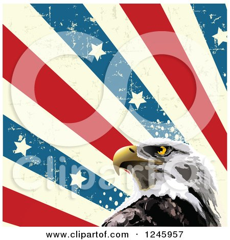 Clipart of a Bald Eagle and Distressed American Stars and Stripes - Royalty Free Vector Illustration by Pushkin