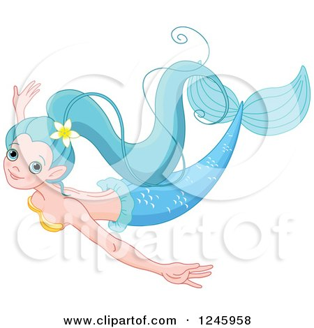 Clipart of a Pretty Blue Mermaid Swimming - Royalty Free Vector Illustration by Pushkin
