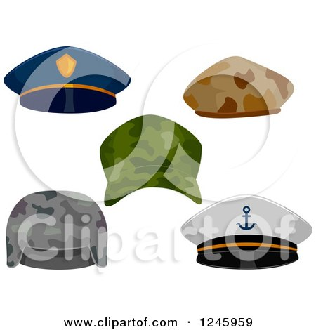 Clipart of Military and Police Hats - Royalty Free Vector Illustration by BNP Design Studio