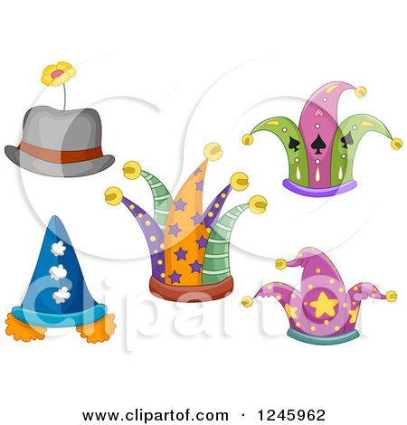 Clipart of Jester and Clown Hats - Royalty Free Vector Illustration by BNP Design Studio