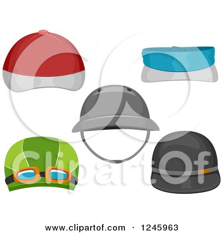 Clipart of Sports Hats - Royalty Free Vector Illustration by BNP Design Studio