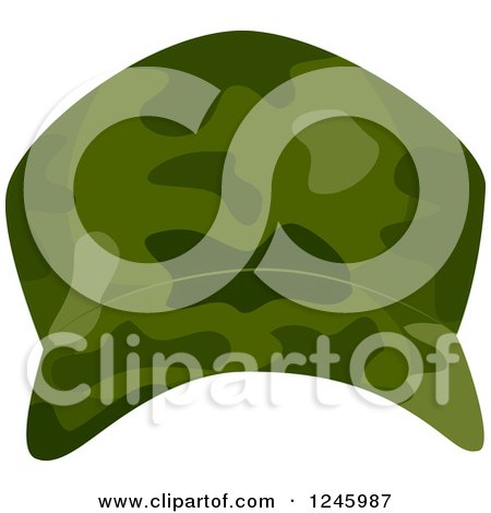 Clipart of a Green Camouflage Military Hat - Royalty Free Vector Illustration by BNP Design Studio