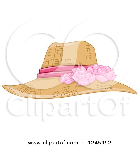 Clipart of a Ladies Straw Sun Hat with a Pink Floral Ribbon - Royalty Free Vector Illustration by BNP Design Studio