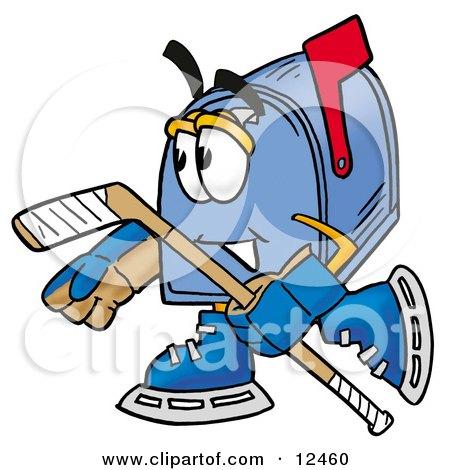 Blue Postal Mailbox Cartoon Character Playing Ice Hockey Posters, Art Prints