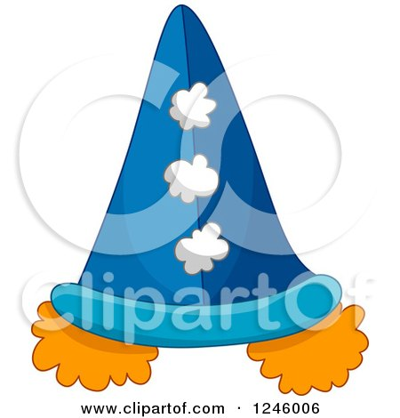 Clipart of a Clown Hat with Orange Hair Puffs - Royalty Free Vector Illustration by BNP Design Studio