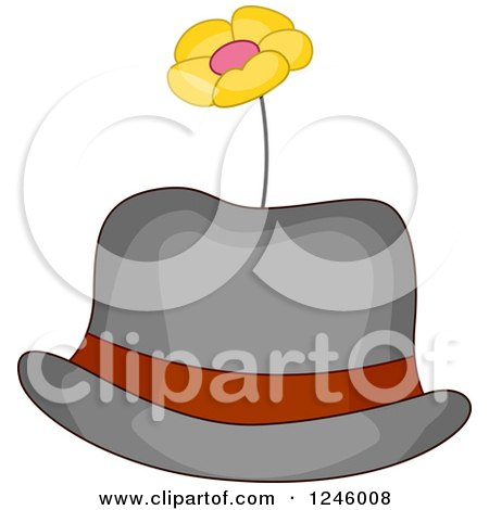 Clipart of a Clown Hat with a Flower - Royalty Free Vector Illustration by BNP Design Studio
