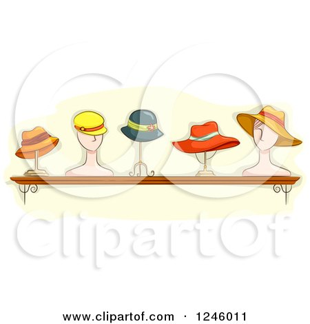 Clipart Of A Collection Of Ladies Hats On Stands Royalty Free Vector Illustration