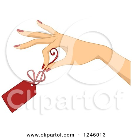 Clipart of a Caucasian Woman's Hand Holding a Red Clearance Price Tag - Royalty Free Vector Illustration by BNP Design Studio