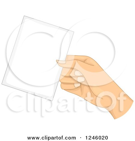 Clipart of a Caucasian Woman's Hand Holding out a Card - Royalty Free Vector Illustration by BNP Design Studio