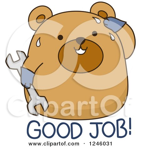 Clipart of a Sweaty Brown Bear with Good Job Text - Royalty Free Vector Illustration by BNP Design Studio