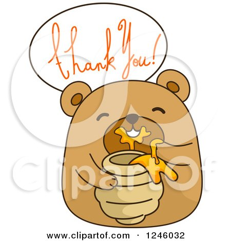 Clipart of a Brown Bear Eating Honey Under Thank You Text - Royalty Free Vector Illustration by BNP Design Studio