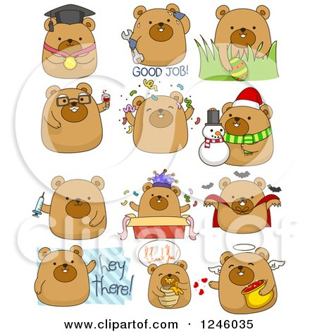 Clipart of a Brown Bear in Different Poses - Royalty Free Vector Illustration by BNP Design Studio