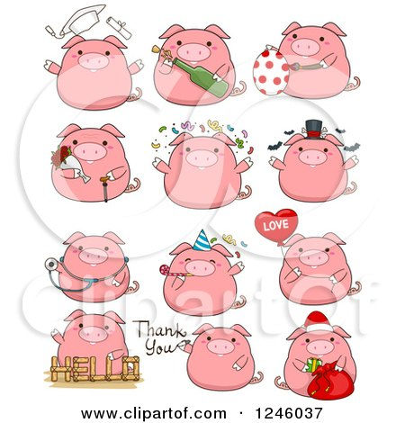 Clipart of a Pink Pig in Different Poses - Royalty Free Vector Illustration by BNP Design Studio