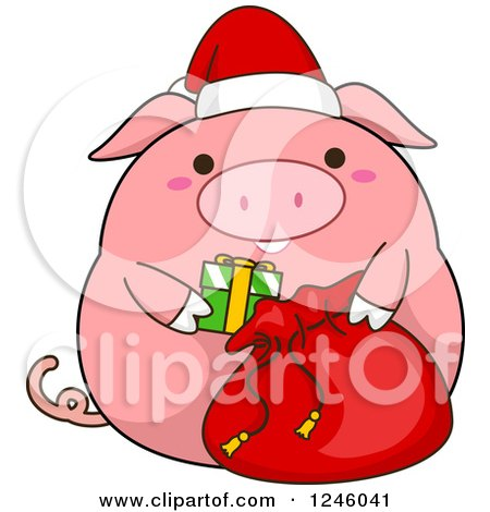Clipart of a Pink Christmas Pig Stuffing a Santa Sack