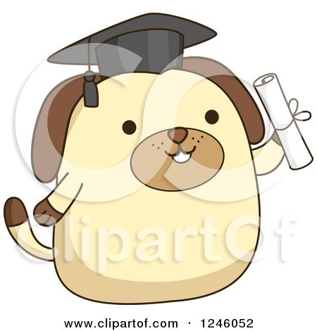 Clipart of a Graduate Dog Holding a Diploma - Royalty Free Vector Illustration by BNP Design Studio