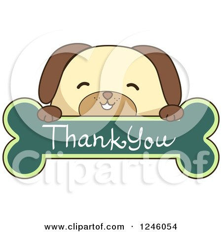 Clipart of a Dog over a Thank You Bone Sign - Royalty Free Vector Illustration by BNP Design Studio