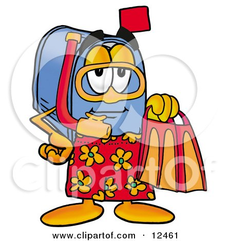Clipart Picture of a Blue Postal Mailbox Cartoon Character in Orange and Red Snorkel Gear by Toons4Biz