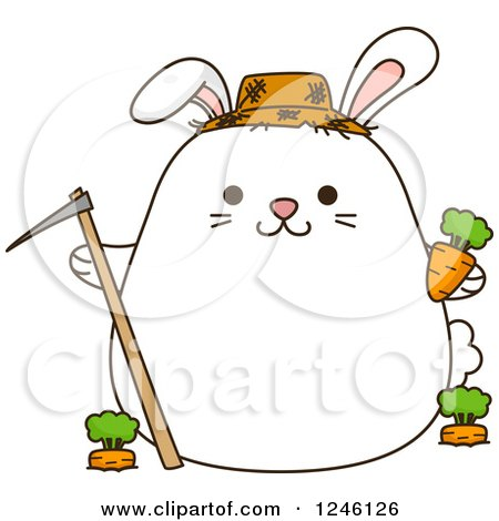 Clipart of a White Farmer Bunny Rabbit with Carrots - Royalty Free Vector Illustration by BNP Design Studio