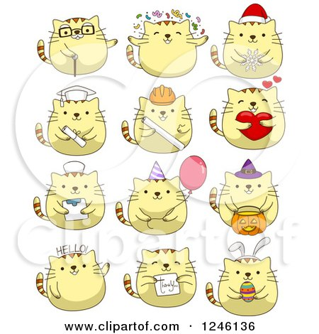 Clipart of Yellow Kitty Cats in Different Poses - Royalty Free Vector Illustration by BNP Design Studio