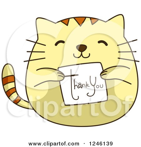Clipart of a Yellow Kitty Cat Holding a Thank You Card ...