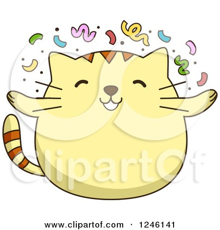 Clipart of a Yellow Kitty Cat with Party Confetti - Royalty Free Vector Illustration by BNP Design Studio