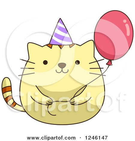 Clipart Of A Yellow Birthday Kitty Cat With Party Hat And Balloon