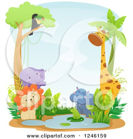 Clipart of African Safari Animals at a Watering Hole - Royalty Free Vector Illustration by BNP Design Studio