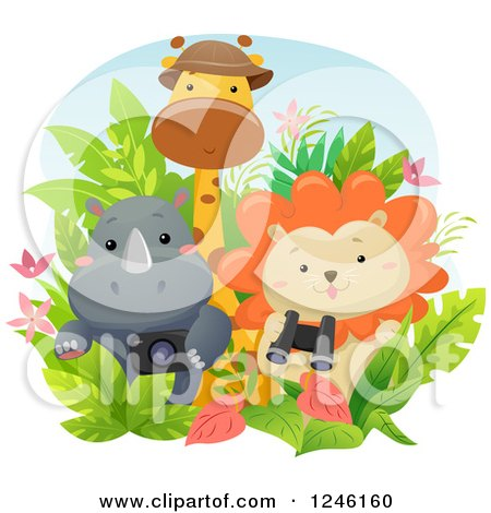 Clipart of a Cute Baby Safari Rhino Lion and Giraffe with Gear - Royalty Free Vector Illustration by BNP Design Studio