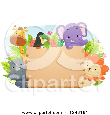 Clipart of African Safari Animals Around a Wooden Sign - Royalty Free Vector Illustration by BNP Design Studio