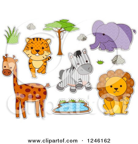 Clipart of Safari Zoo Animals with Patterns - Royalty Free Vector Illustration by BNP Design Studio